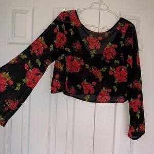 Fun Red Roses Crop Top Long Sleeves